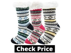 Fluffy Thermal Sherpa Socks, 3 Pairs for Women, Ultra Soft Slipper Christmas Winter Non Skid Gift