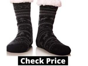 MIUBEAR Mens Thick Heavy Warm Fleece Fuzzy Winter Christmas Deer Slipper Socks