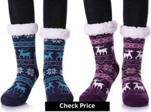 Women's Winter Super Soft Warm Cozy Fuzzy Snowflake Deer Fleece-lined Christmas Gift With Grippers Slipper Socks