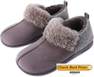 LongBay Womens Snug Micro Suede Memory Foam Slippers Warm Wool Plush Collar Anti Slip House Shoes
